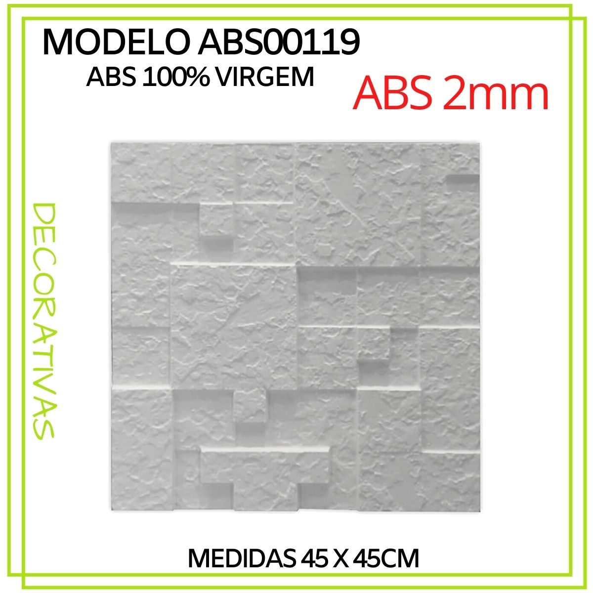 Forma De Gesso 3D em ABS - ABS0119-2MM 45x45cm