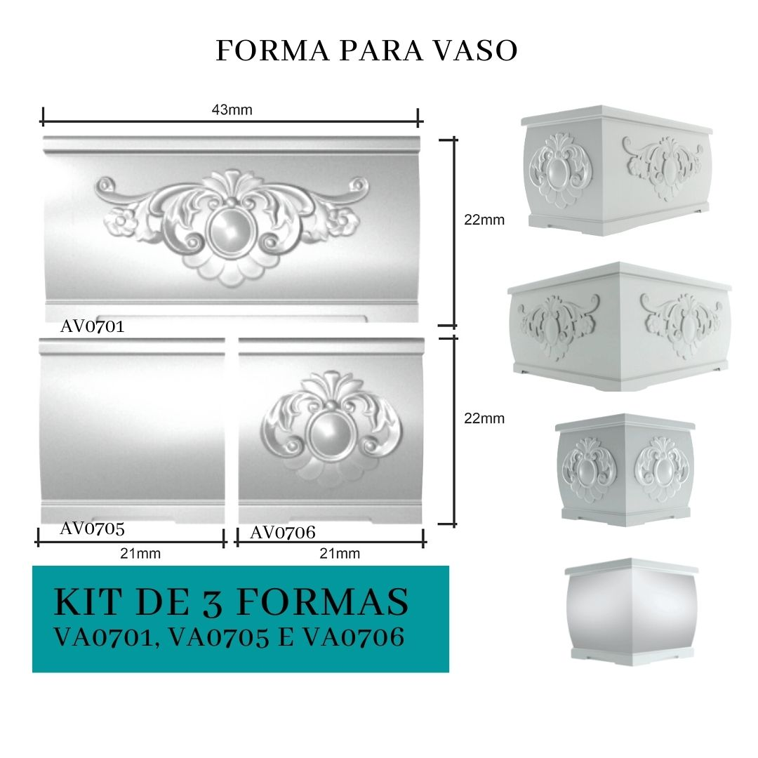 Kit  de 3 Formas para Vaso em PET