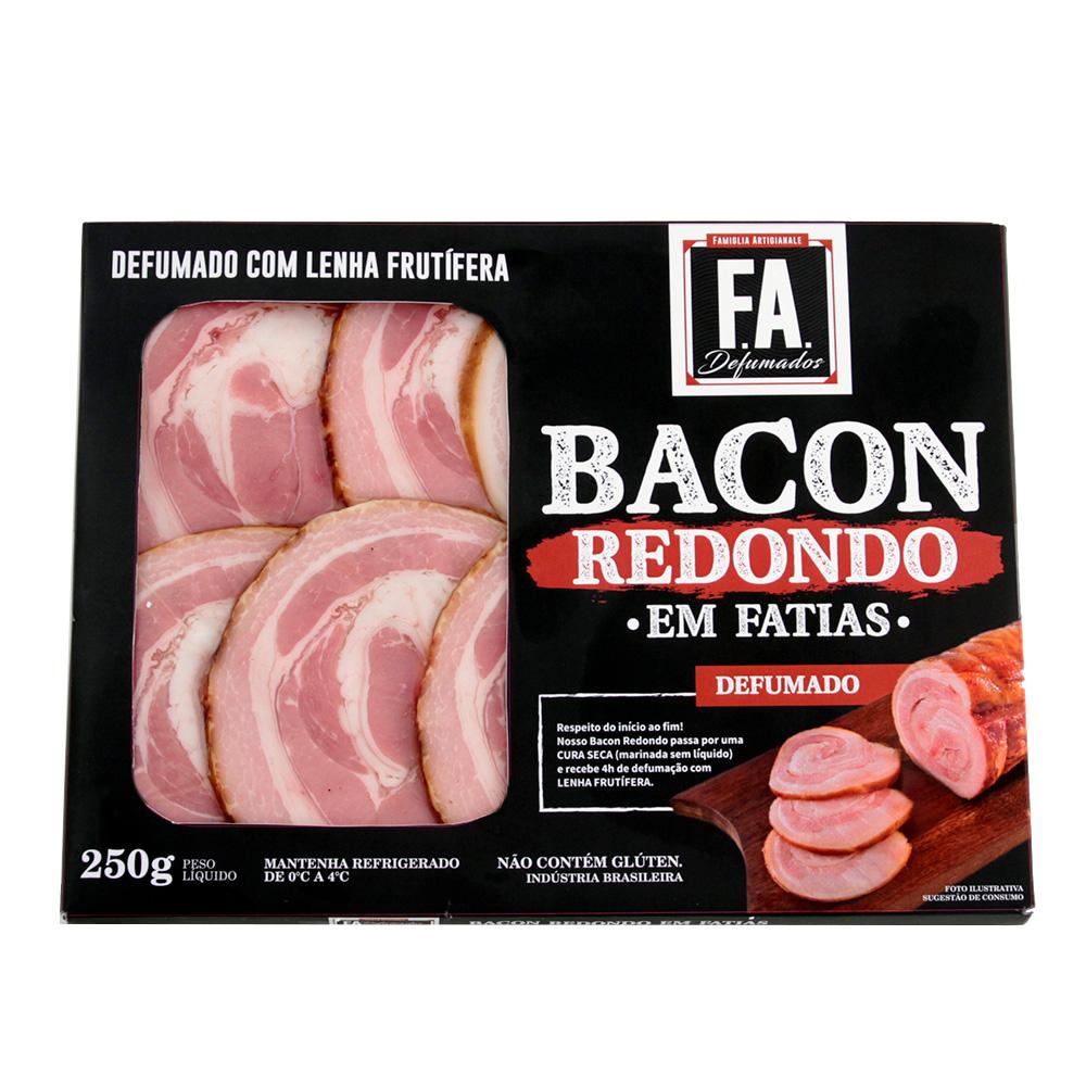 Bacon Redondo em Fatias Artesanal 250g F.A. Defumados