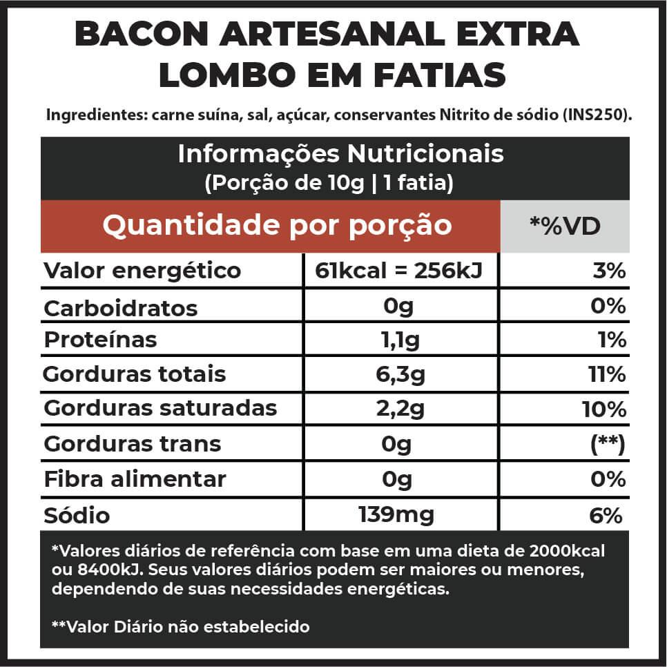 Bacon Artesanal F.A. Extra Lombo em fatias | 250g  - FADEFUMADOS