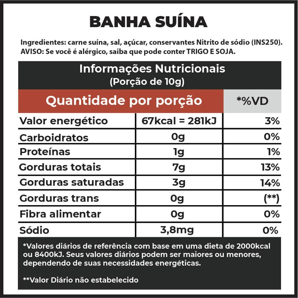 Banha Suína Defumada com Lenha Frutífera F.A. | 500g