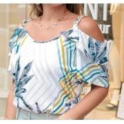 Blusa estampada detalhes de corrente na alça