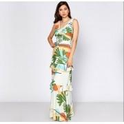 Vestido floral com cinto e alça larga