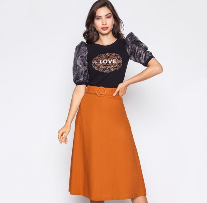 blusa de malha canelada com manga bufante