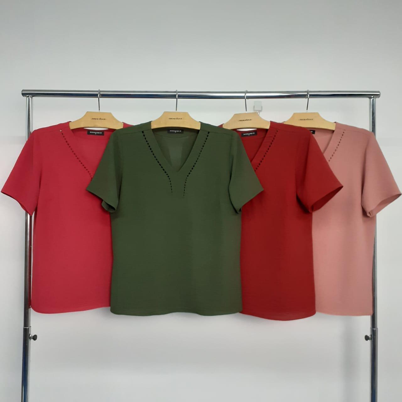 blusa decote v com manga curta