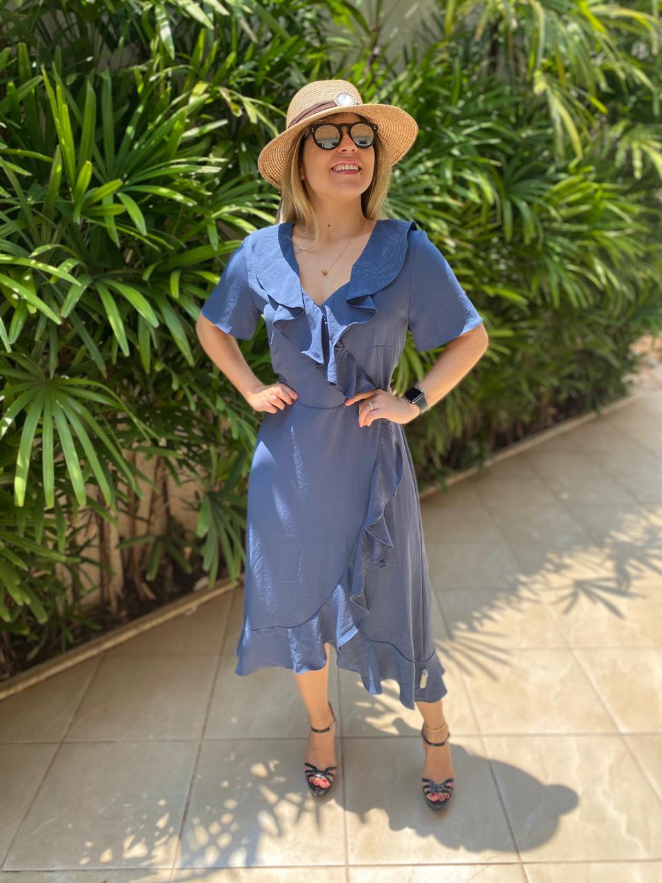 vestido azul liso