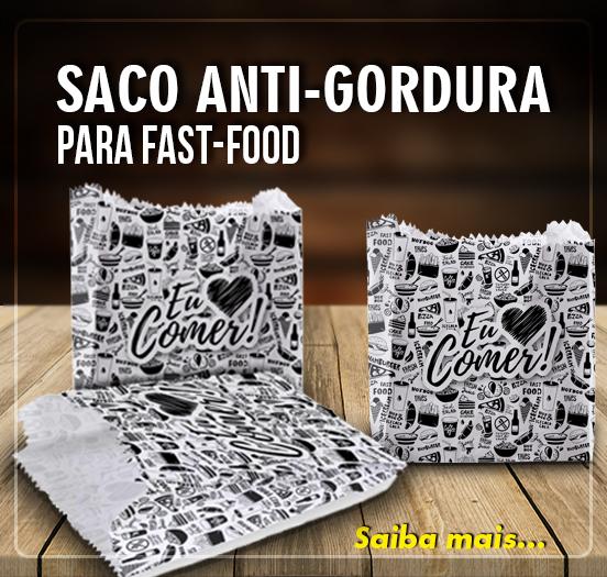 saco anti-gordura para fast-food - 100 unidades