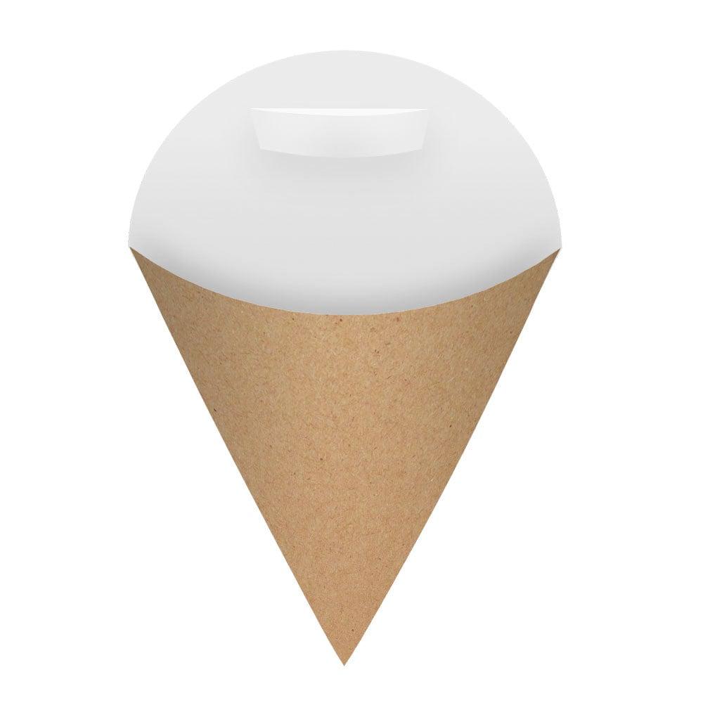 Embalagem Cone para Salgados e Porções Média - Kraft - 100 unidades  - 24 PRINT EMBALAGENS