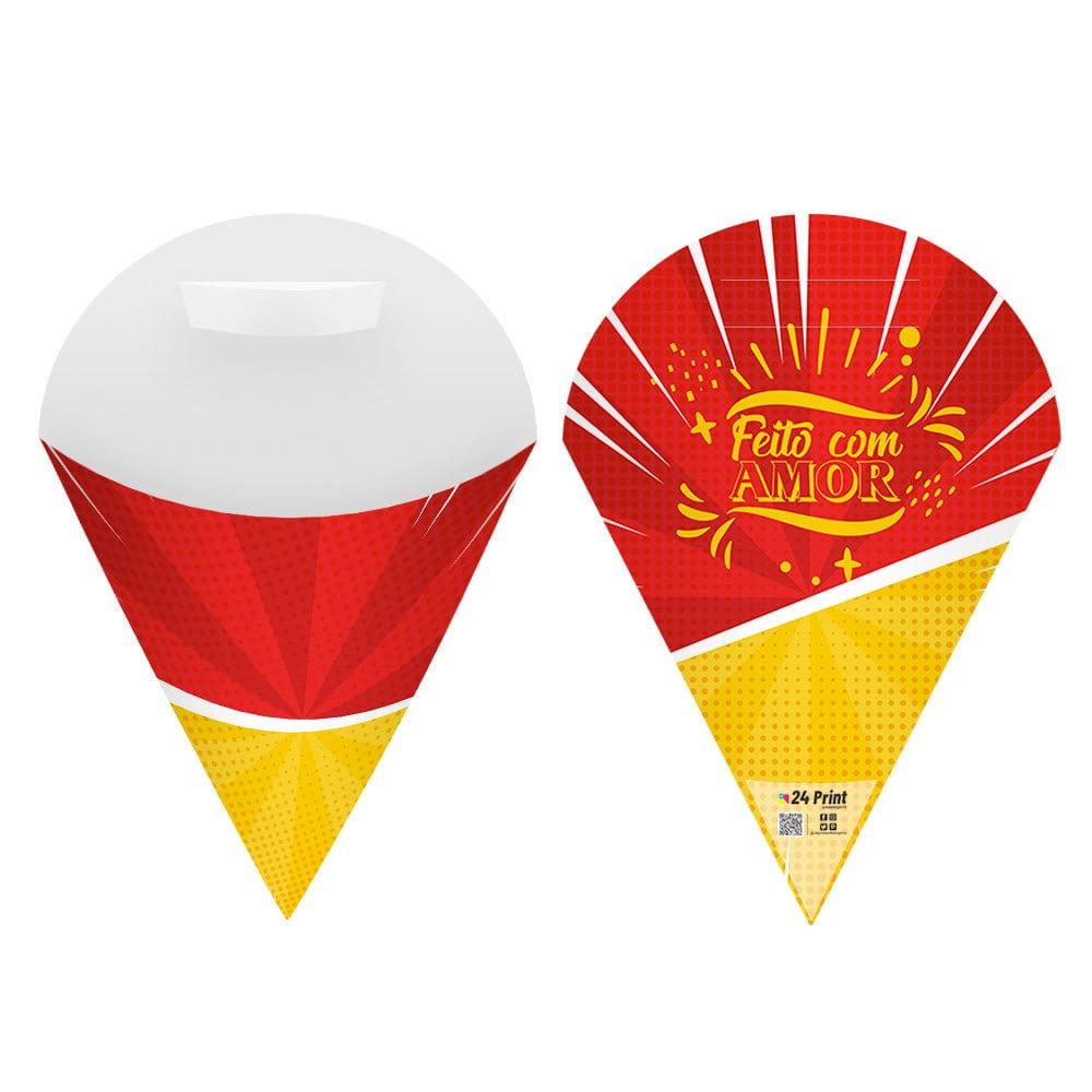 Embalagem Cone para Salgados e Porções Pequena - Color - 100 unidades  - 24 PRINT EMBALAGENS