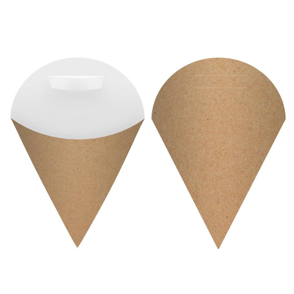 Embalagem Cone para Salgados e Porções Pequena - Kraft - 100 unidades  - 24 PRINT EMBALAGENS
