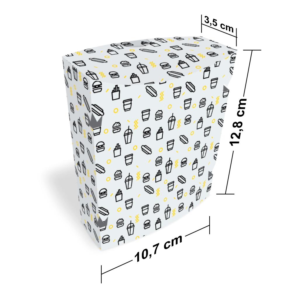 Embalagem para Batata Frita Delivery  - WHITE BLACK - 100 unidades  - 24 PRINT EMBALAGENS