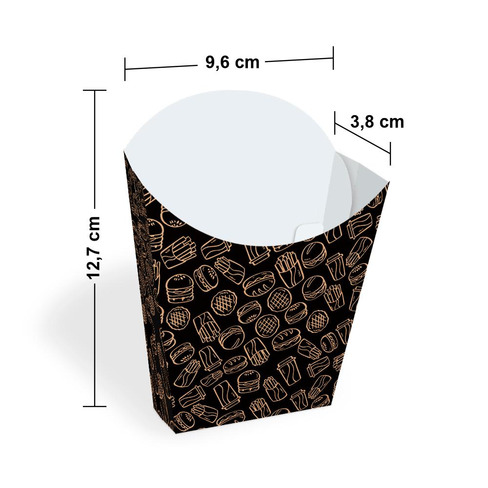 Embalagem para Batata Frita - KRAFT BLACK - 100 unidades  - 24 PRINT EMBALAGENS