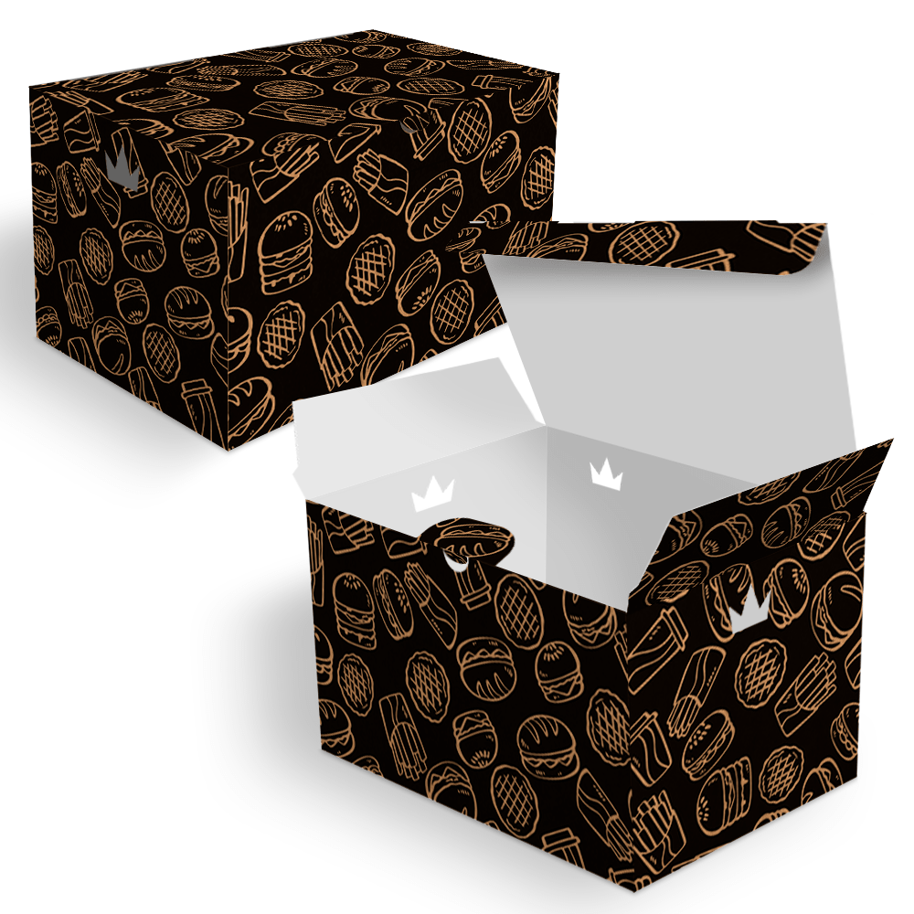 Embalagem para Batata Frita Porção Delivery - KRAFT BLACK - 100 unidades  - 24 PRINT EMBALAGENS