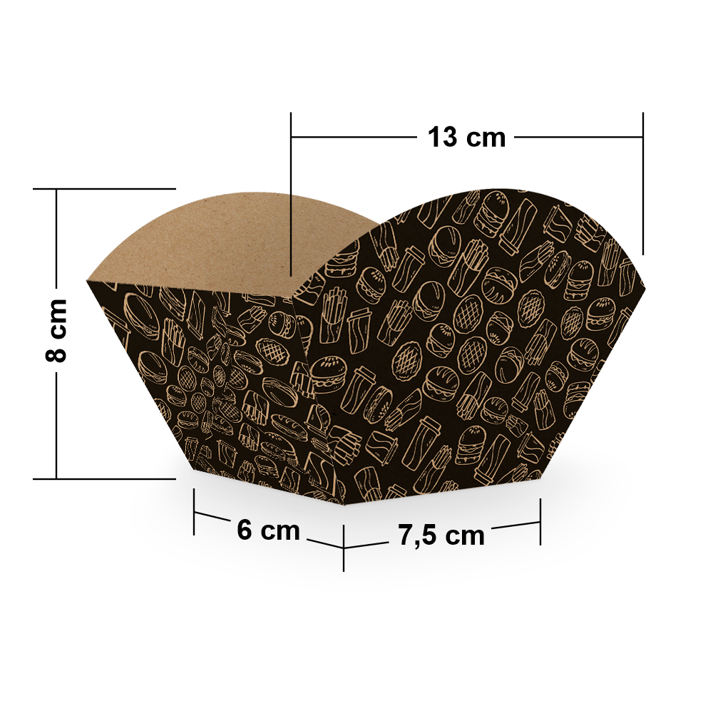 Embalagem para Batata Frita Porção - KRAFT BLACK - 100 unidades  - 24 PRINT EMBALAGENS
