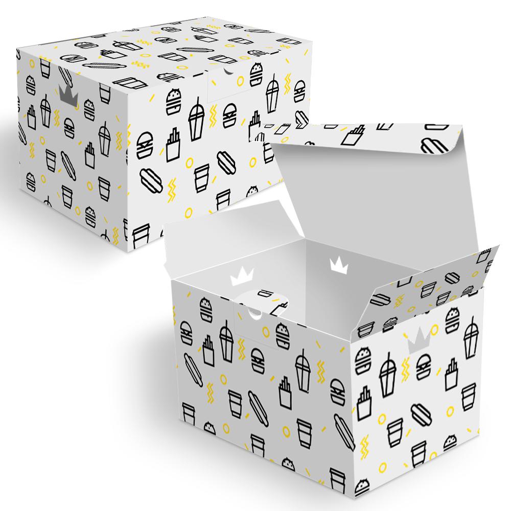 Embalagem para Batata Frita Porção Delivery - WHITE BLACK - 100 unidades  - 24 PRINT EMBALAGENS