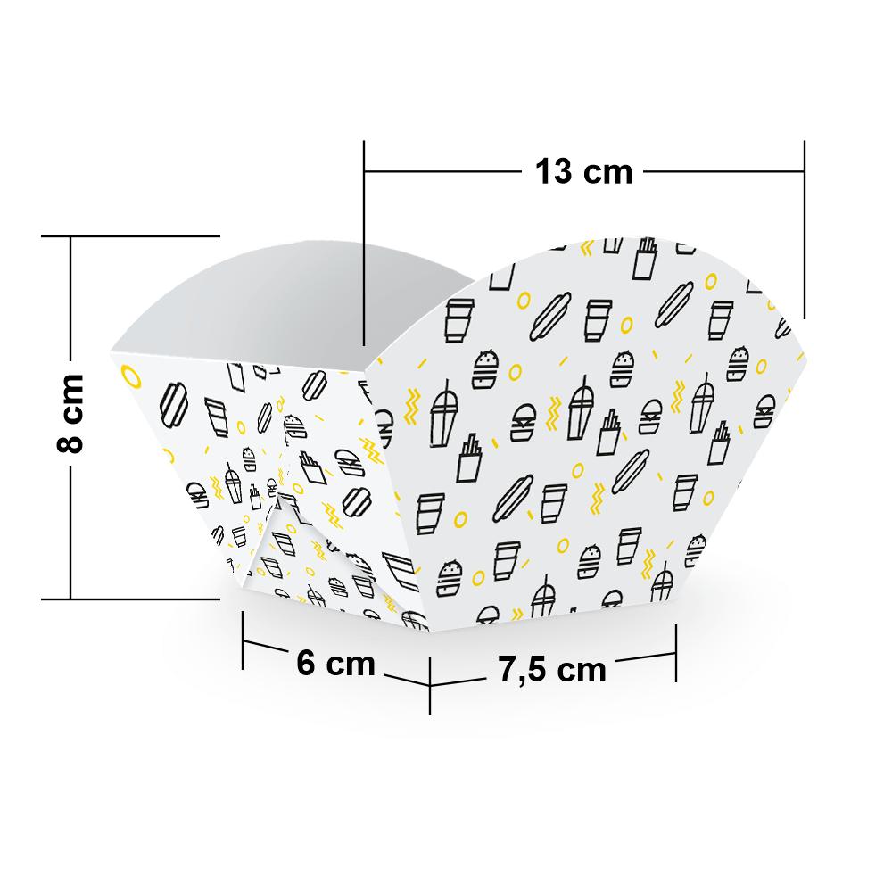 Embalagem para Batata Frita Porção  - WHITE BLACK - 100 unidades  - 24 PRINT EMBALAGENS