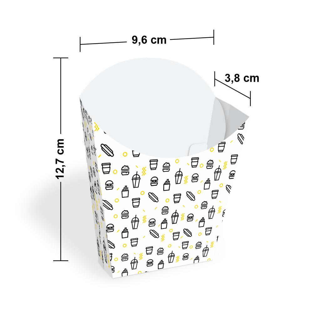 Embalagem para Batata Frita - WHITE BLACK - 100 unidades  - 24 PRINT EMBALAGENS