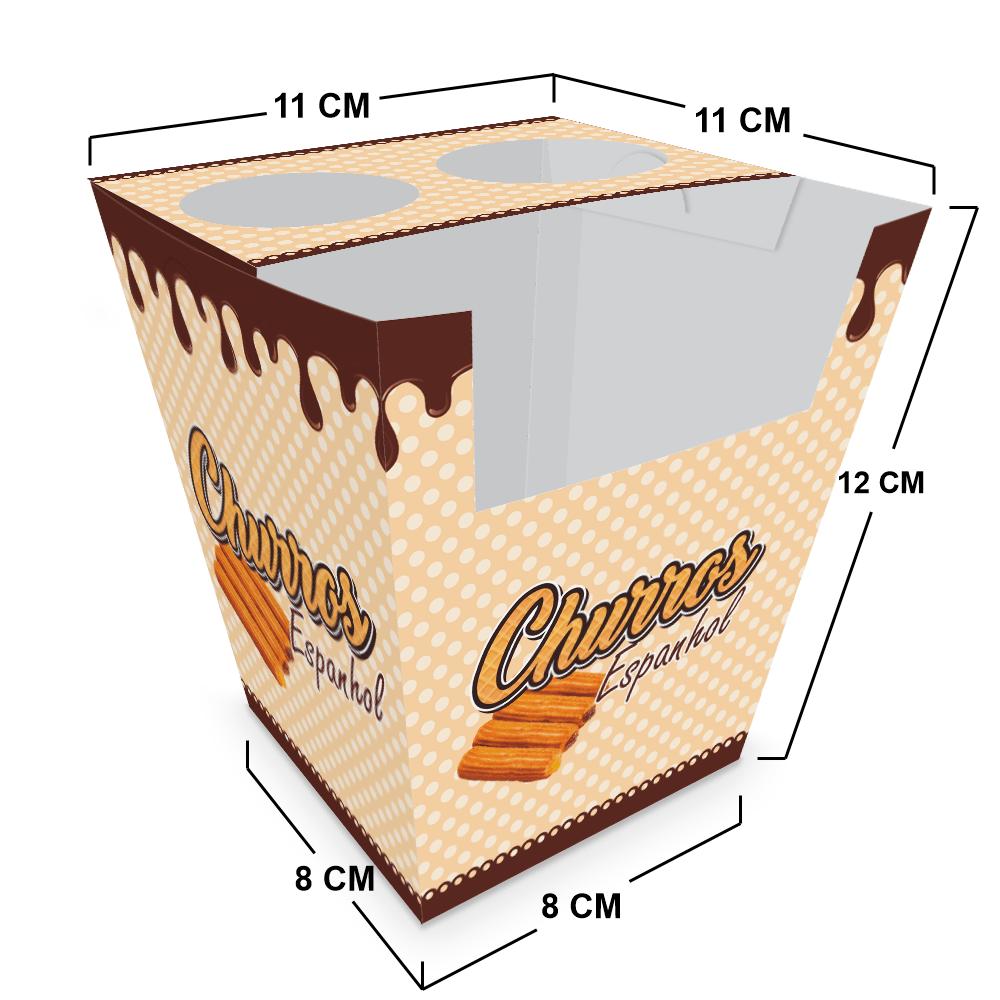 Embalagem para Churros Espanhol - MARROM - 100 unidades  - 24 PRINT EMBALAGENS