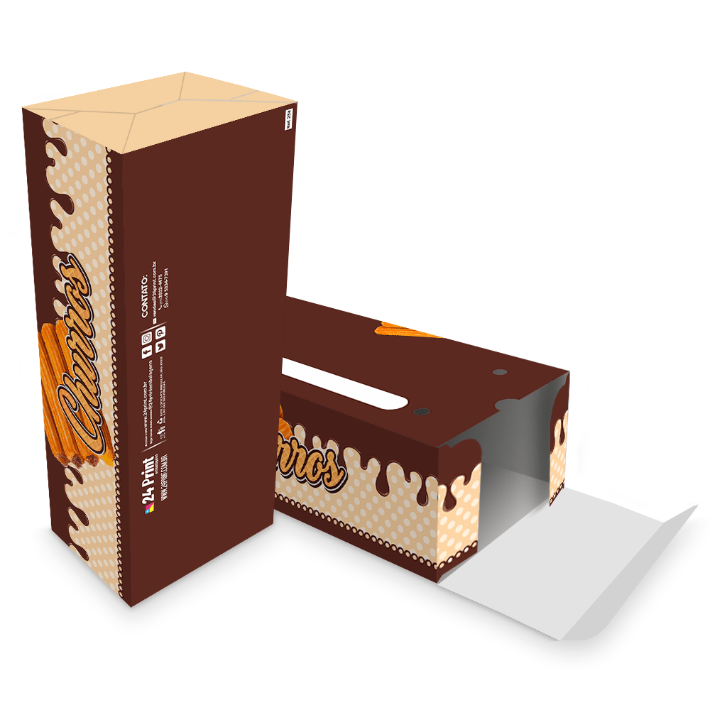 Embalagem para Churros Externo Gourmet 2 unidades - MARROM - 100 unidades  - 24 PRINT EMBALAGENS