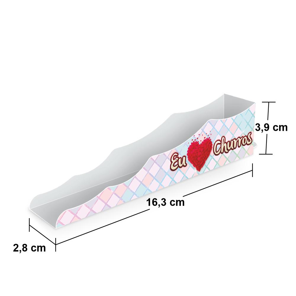 Embalagem para Churros Interno Ondulado Gourmet - XADREZ - 1000 unidades  - 24 PRINT EMBALAGENS