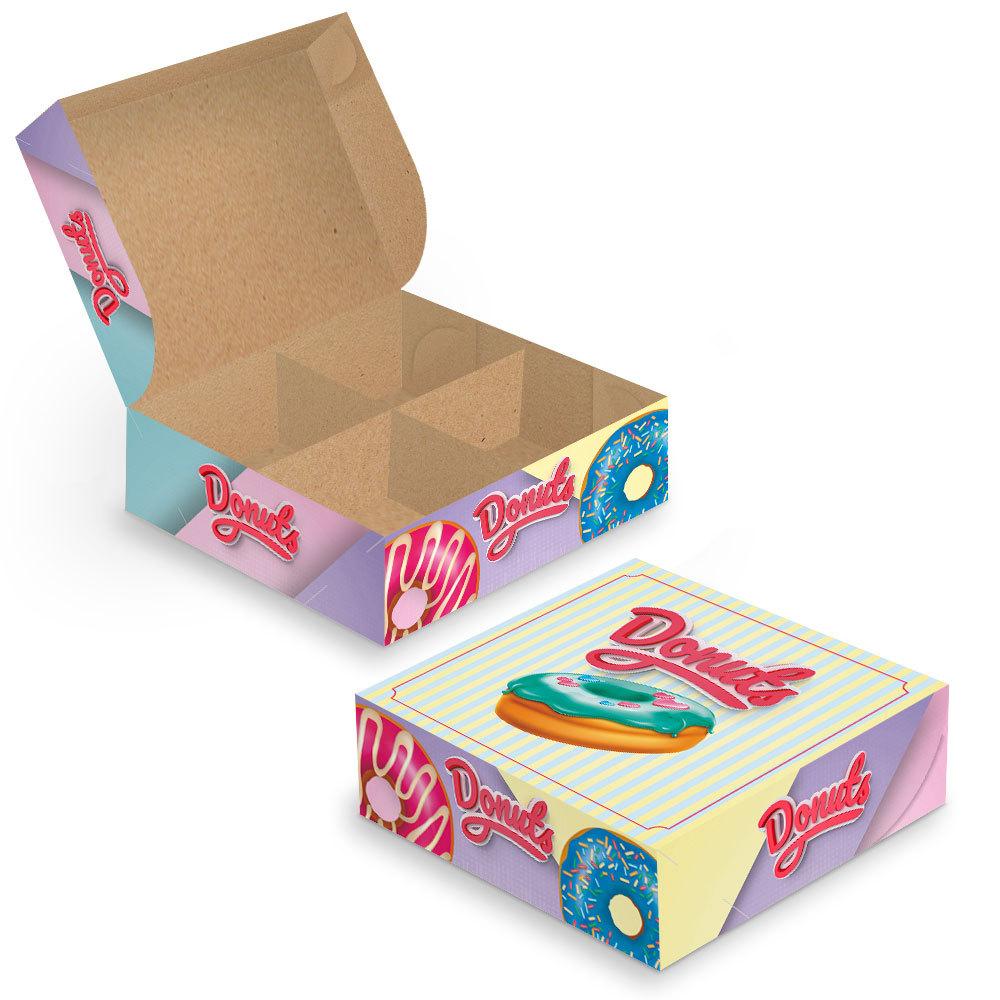 Embalagem para Donuts (Com Divisórias) - 4 unidades - COLOR - 100 unidades  - 24 PRINT EMBALAGENS