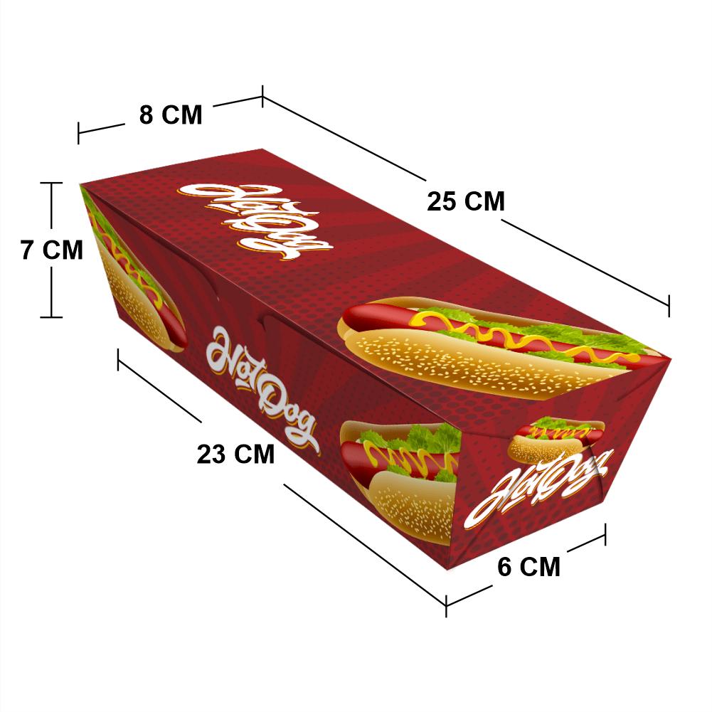 Embalagem para Hot Dog Delivery - Médio - COLOR - 100 unidades  - 24 PRINT EMBALAGENS