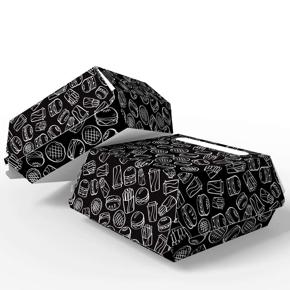 Embalagem para Lanches ou Hambúrguer - BLACK - 100 unidades - PADRÃO  - 24 PRINT EMBALAGENS