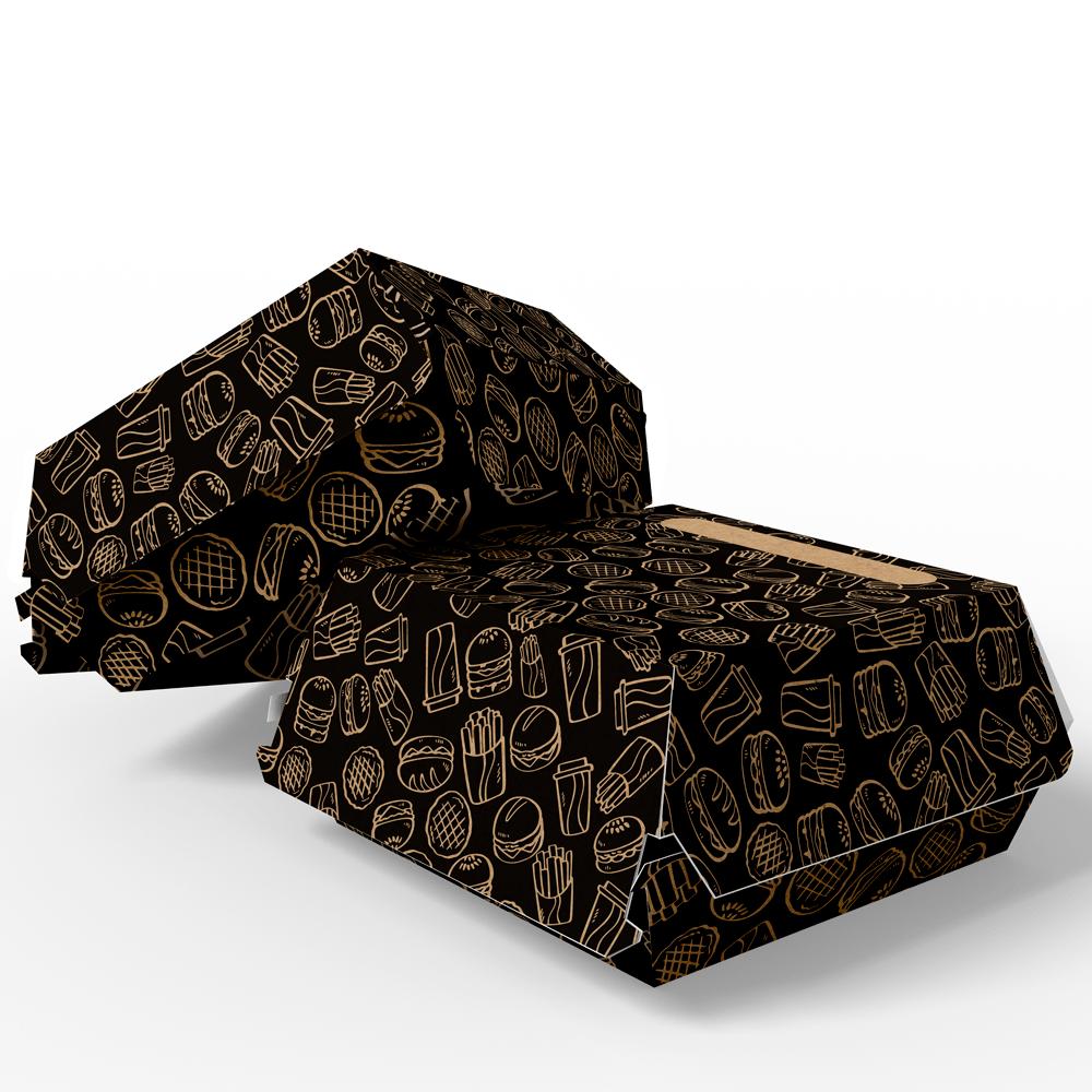 Embalagem para Lanches ou Hambúrguer - KRAFT BLACK - 100 unidades - PADRÃO  - 24 PRINT EMBALAGENS