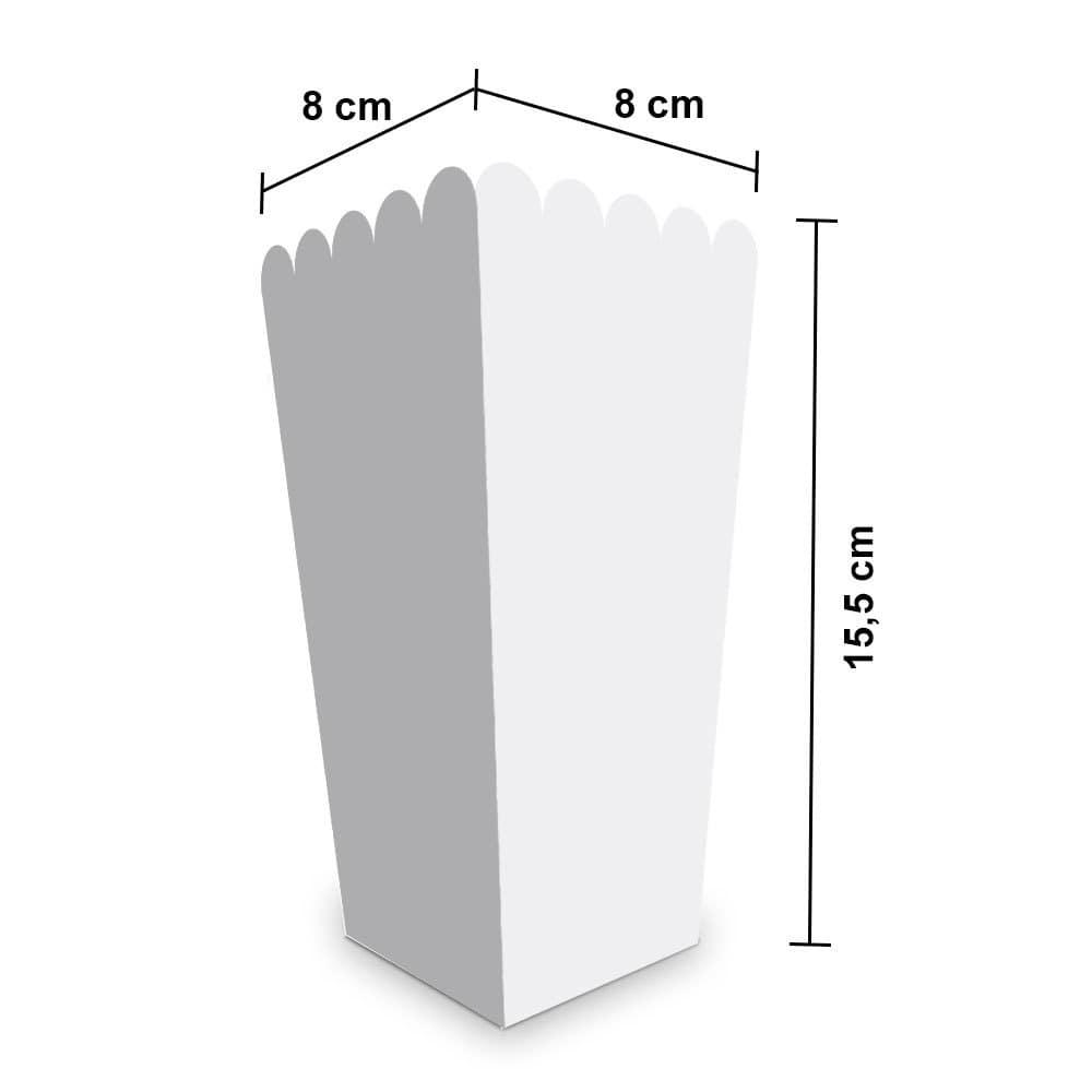 Embalagem para Pipoca Pequena - WHITE- 100 unidades  - 24 PRINT EMBALAGENS