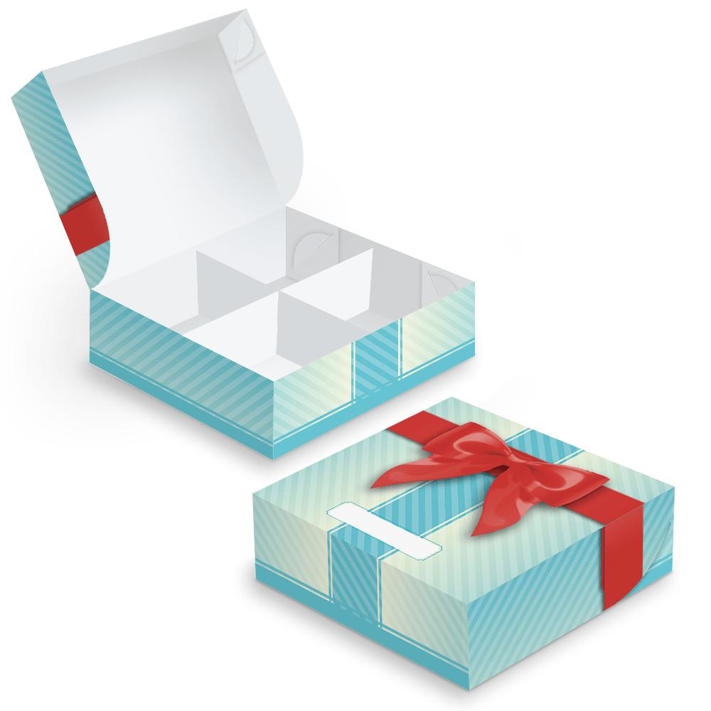 Embalagem Surpresa (Com Divisórias) - 4 unidades - Azul - 100 unidades  - 24 PRINT EMBALAGENS