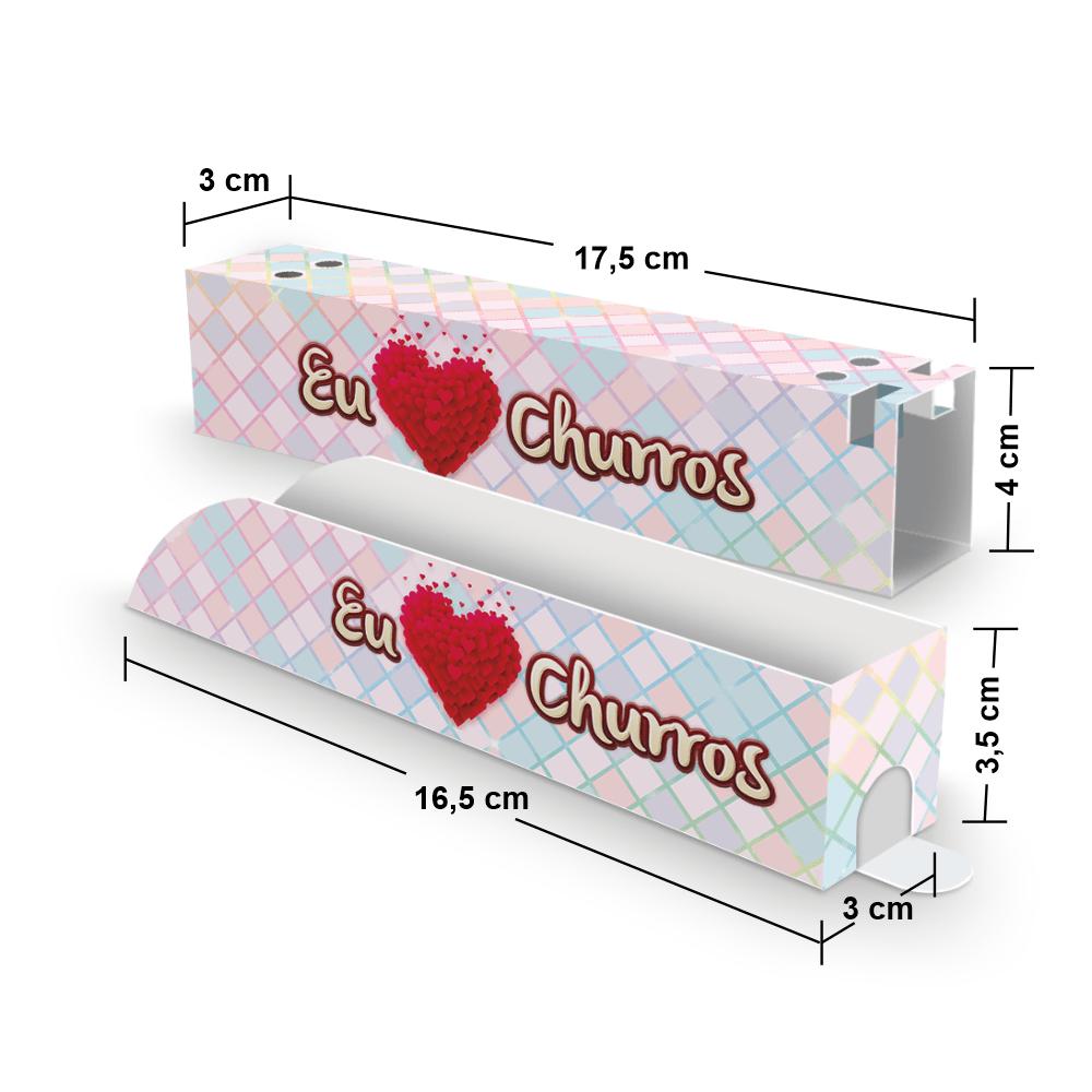 Kit Embalagem para Churros Interno e Externo Gourmet - XADREZ - 100 unidades  - 24 PRINT EMBALAGENS