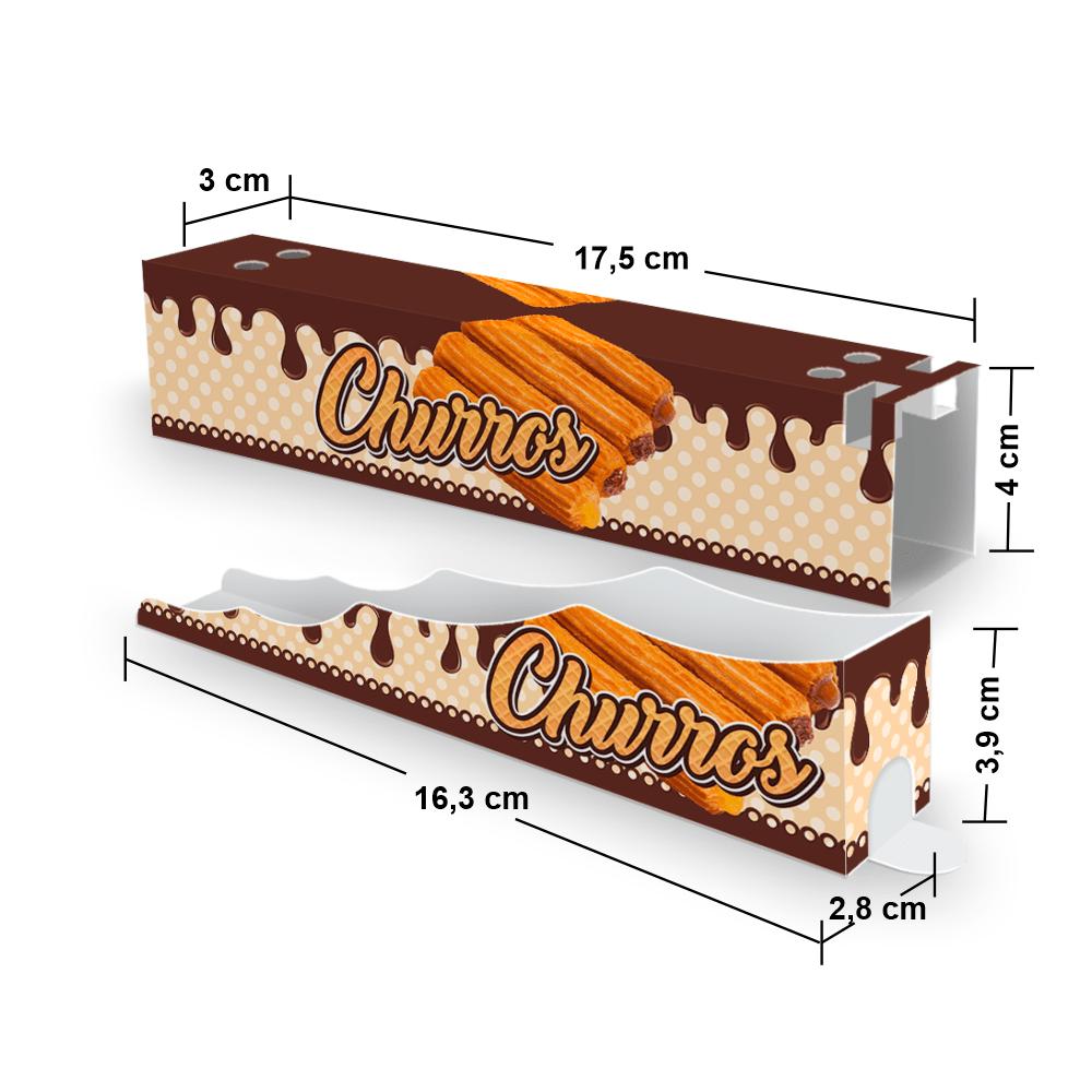 Kit Embalagem para Churros Interno Ondulado e Externo Gourmet - MARROM - 100 unidades  - 24 PRINT EMBALAGENS