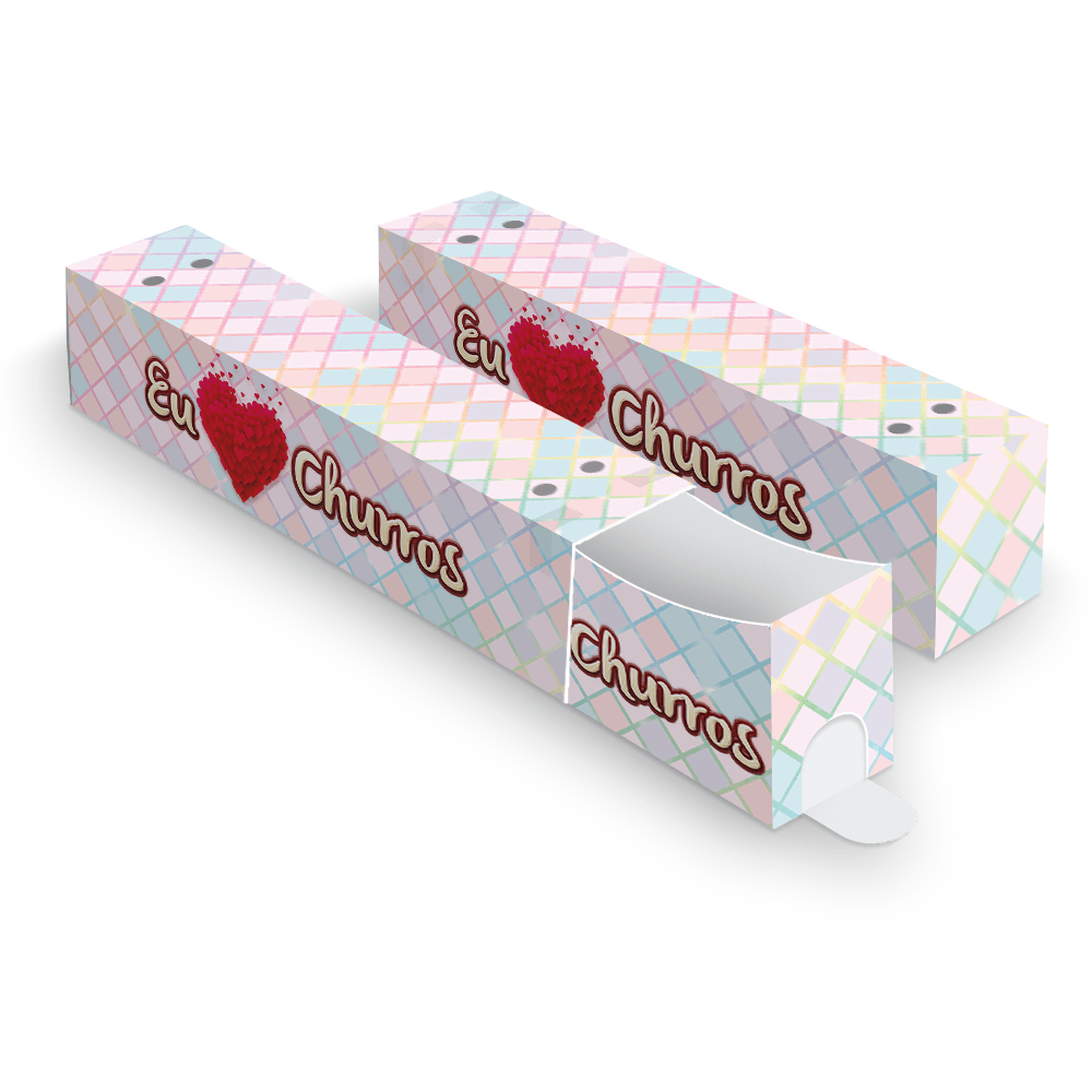 Kit Embalagem para Churros Interno Ondulado e Externo Gourmet - XADREZ - 100 unidades  - 24 PRINT EMBALAGENS