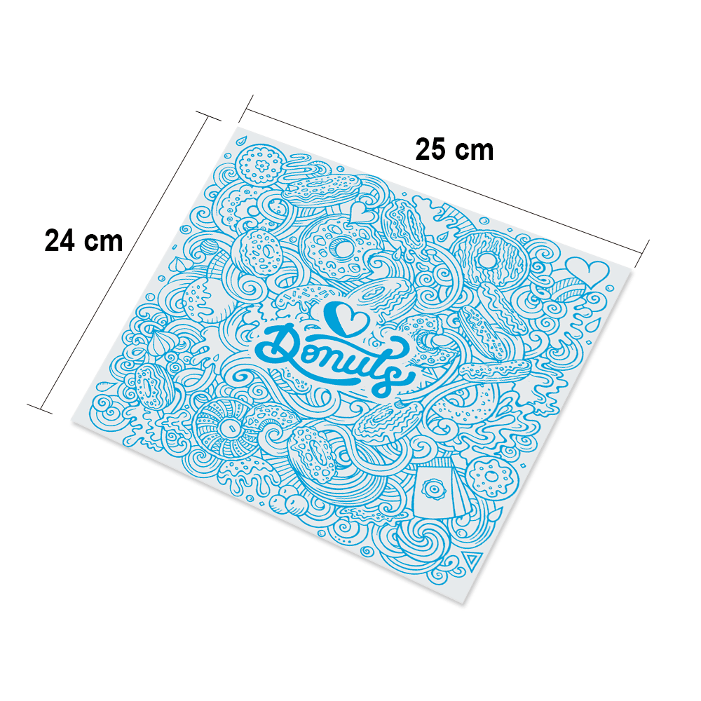 Papel Barreira para Donuts - Azul - 500 unidades  - 24 PRINT EMBALAGENS