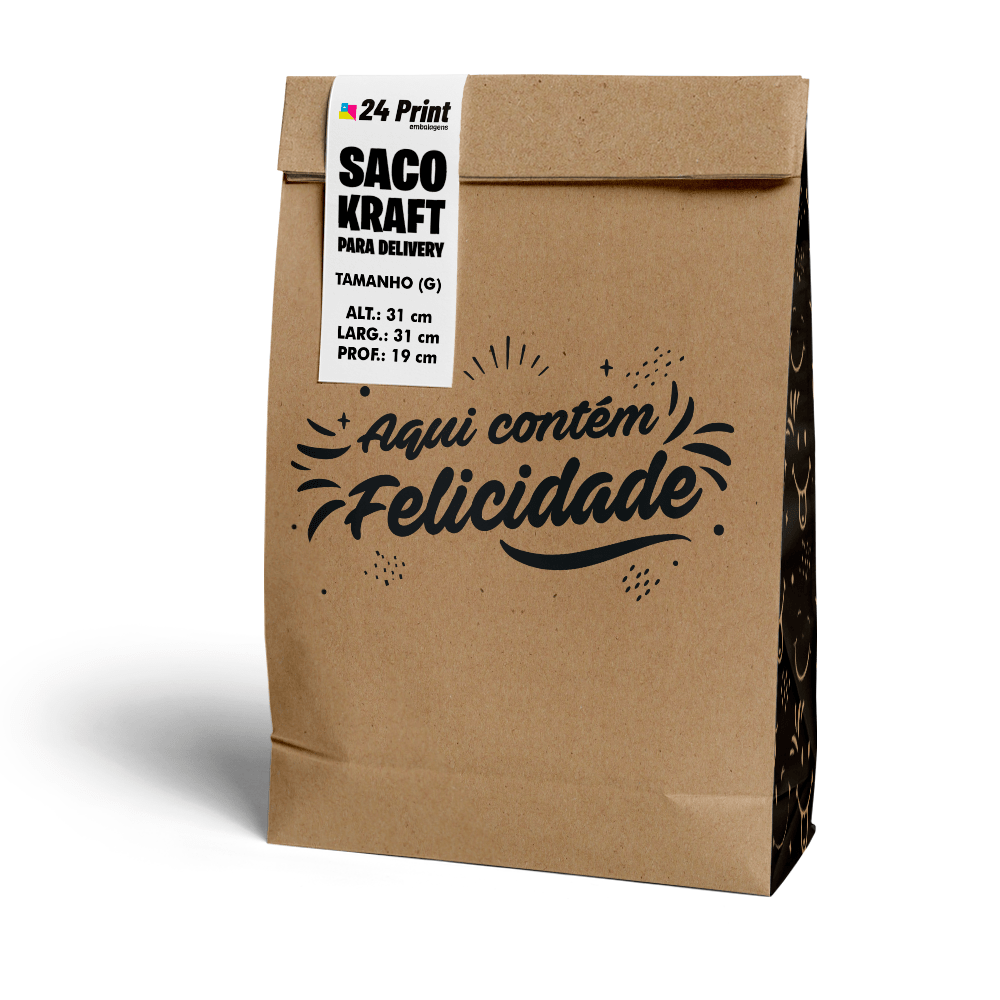 Saco Kraft para Delivery Grande sem Alça - Felicidade  - 100 unidades  - 24 PRINT EMBALAGENS