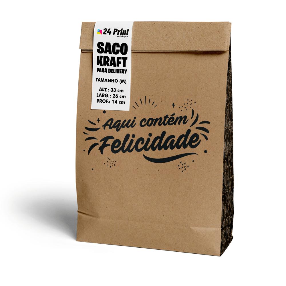 Saco Kraft para Delivery Médio sem Alça - Felicidade - 100 unidades  - 24 PRINT EMBALAGENS
