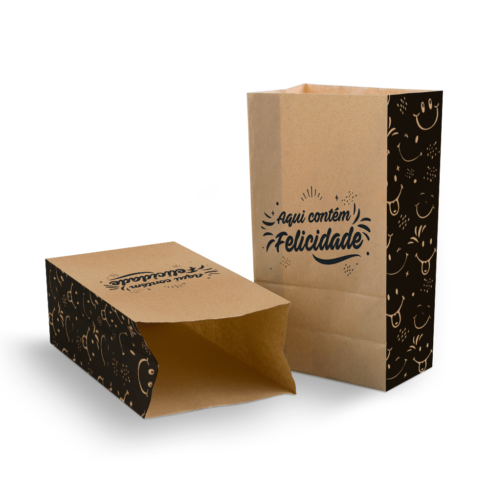 Saco Kraft para Delivery Pequeno sem Alça - Felicidade - 100 unidades  - 24 PRINT EMBALAGENS