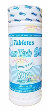 Pastilha de Cloro Desinfetante Água Para Consumo Humano San Tab Mini 90 800g