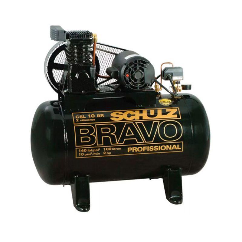 Compressor de ar 10 pés 100L 2 hp 140 lbs Monofasico CSL 10BR/100 - BRAVO