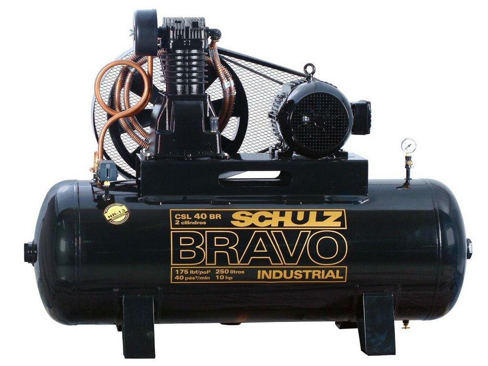 COMPRESSOR DE AR SCHULZ - CSL 40BR/250 BRAVO - 40 PES 250 LITROS 175 LIBRAS 220/380V TRIF
