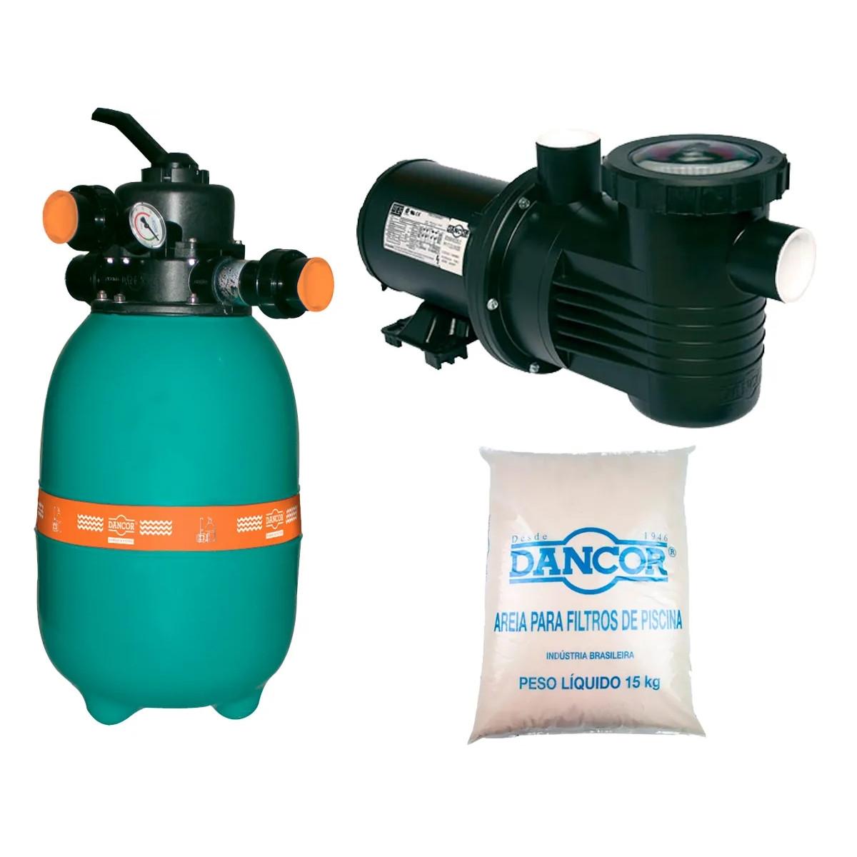 Filtro para Piscina com Bomba de 1/4 cv 30 KG AREIA Dancor DFR-12 Piscina até 21.600L