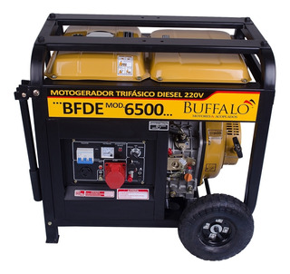 Moto gerador portátil à Diesel Buffalo Partida Elétrica KW 220V Trifásico Silencioso BFDE 6500