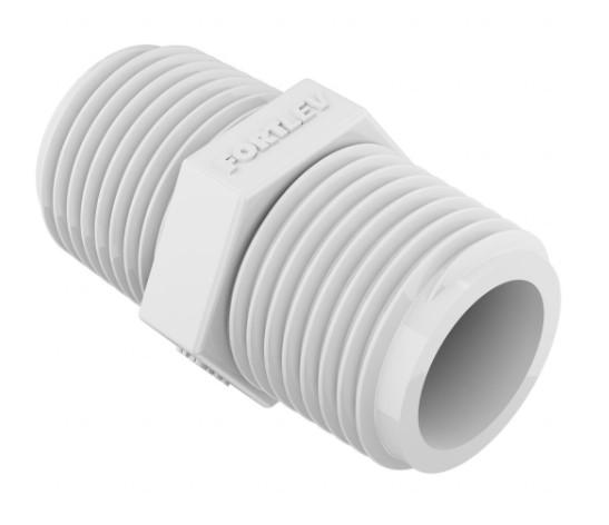 Niple duplo PVC Rosqueável FORTLEV - (Branco)