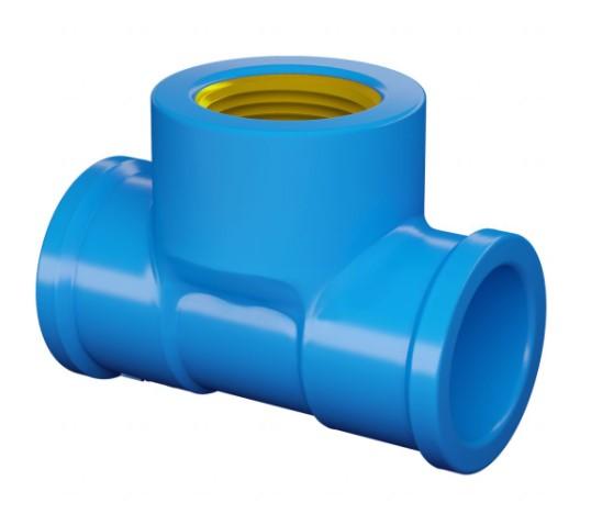Tê PVC Soldável FORTLEV B/Latão LR - (Azul)