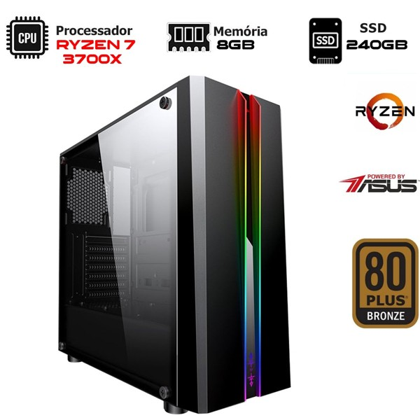 Computador NTC Gamer AMD Ryzen 7 3700X, 8GB, SSD 240GB,  500W, ASUS PRIME B450M-GAMING/BR, VULCANO II - 7118