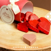Lata com Corações de Chocolates Ao Leite