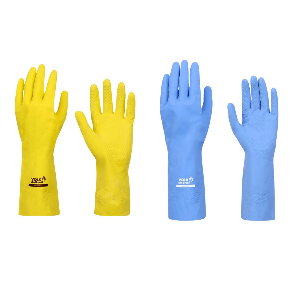 Luva Multiuso Volk Kit c/ 6 Pares - 3x Amarela + 3x Azul