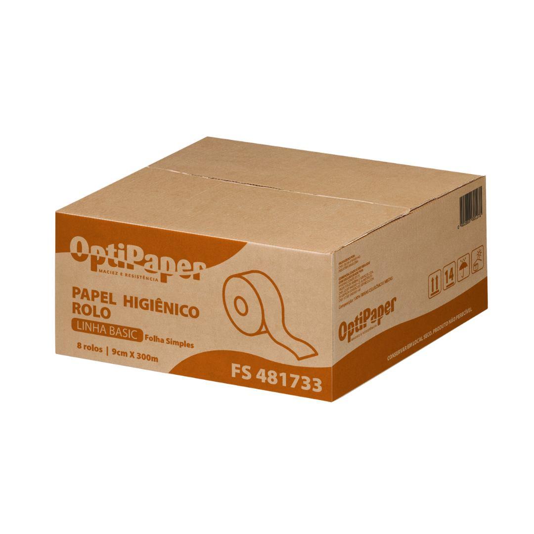Papel Higiênico Rolão - 100% Celulose - Caixa 8 rolos c/ 300 Mts por 9 cm