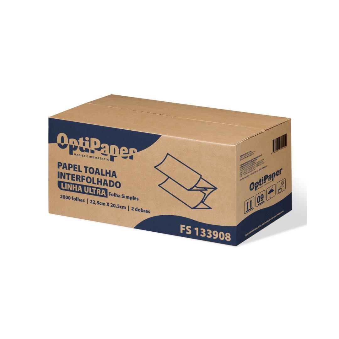 Papel Toalha Alta Gramatura 2 Dobras - 2000 Folhas - Caixa 8 Pcts de 250 Folhas
