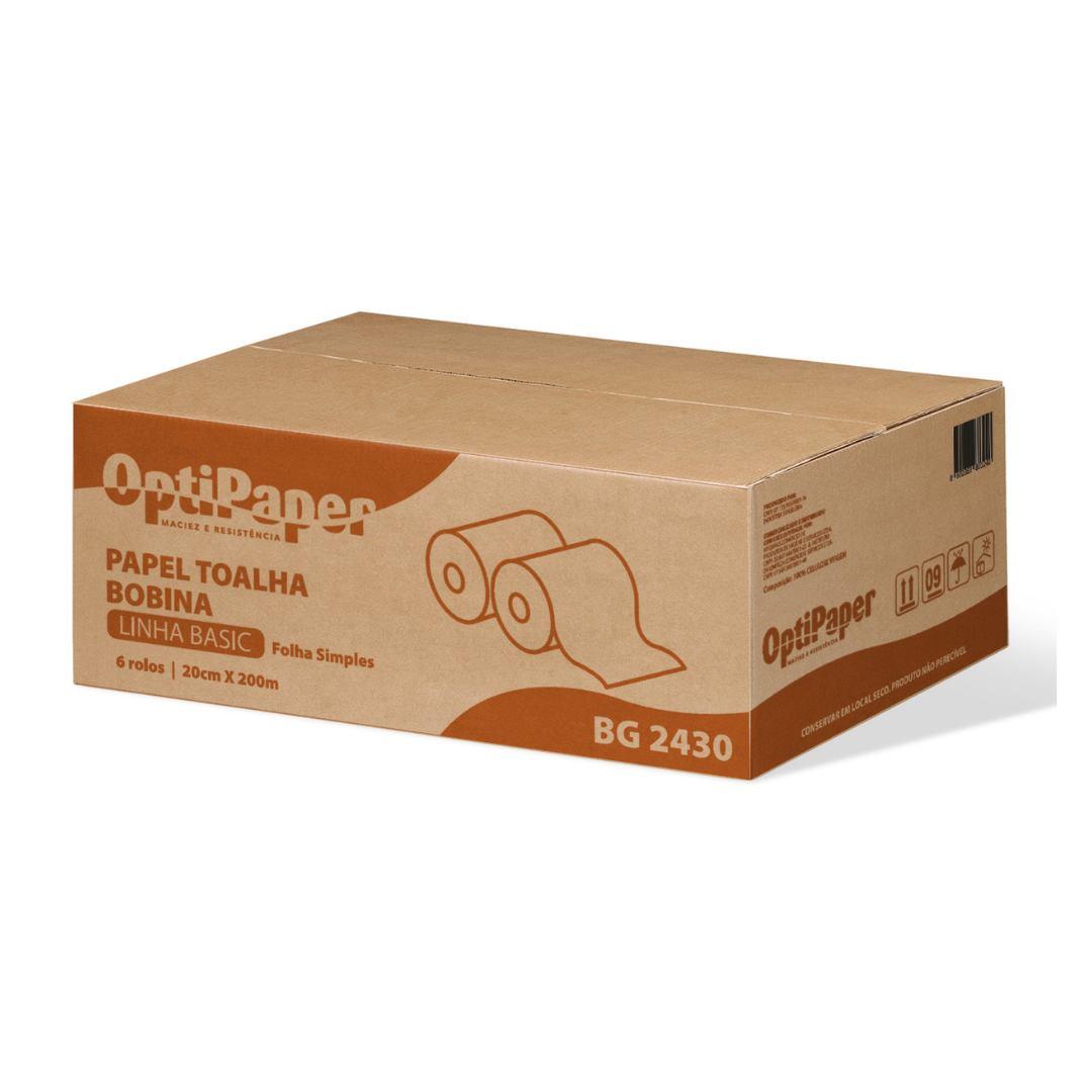 Papel Toalha Rolo Luxo 100% Celulose Virgem - Caixa 6 Rolos de 200 Metros